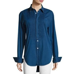 BurberryJaden Big Shirt Pintucked Front Blue NWT
